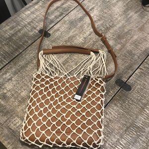 Bag with removable macrame net bag
